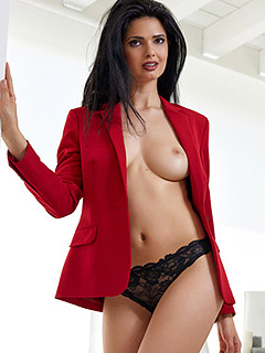 Jasmine Andreas in Red Suit