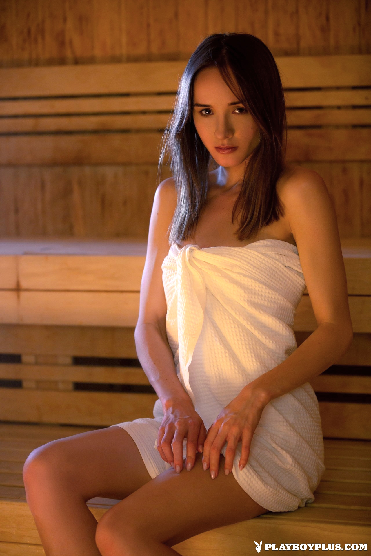 ... Ukrainian model Vi Shy is waiting for you in the sauna. But don't  worry, the towel quickly slides down so that you could enjoy her nude  beauty.