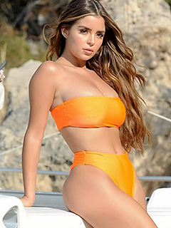 Demi Rose Mawby in Orange Bikini