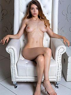 Mila Azul in Leather Throne