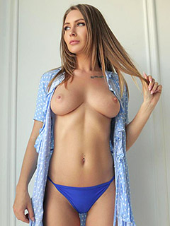 Eva Lunichkina in Sexy Polka Dot Dress