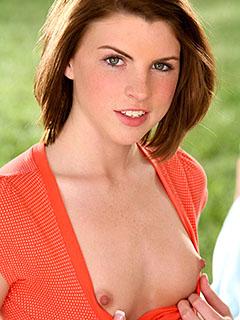 Aubrey Belle in Orange Dress