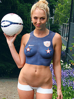 Brooke Marks in World Cup Body Paint