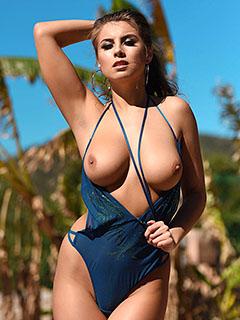 Sarah McDonald in Blue Swimsuit