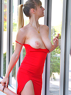 Angel Youngs in Fancy Red Dress