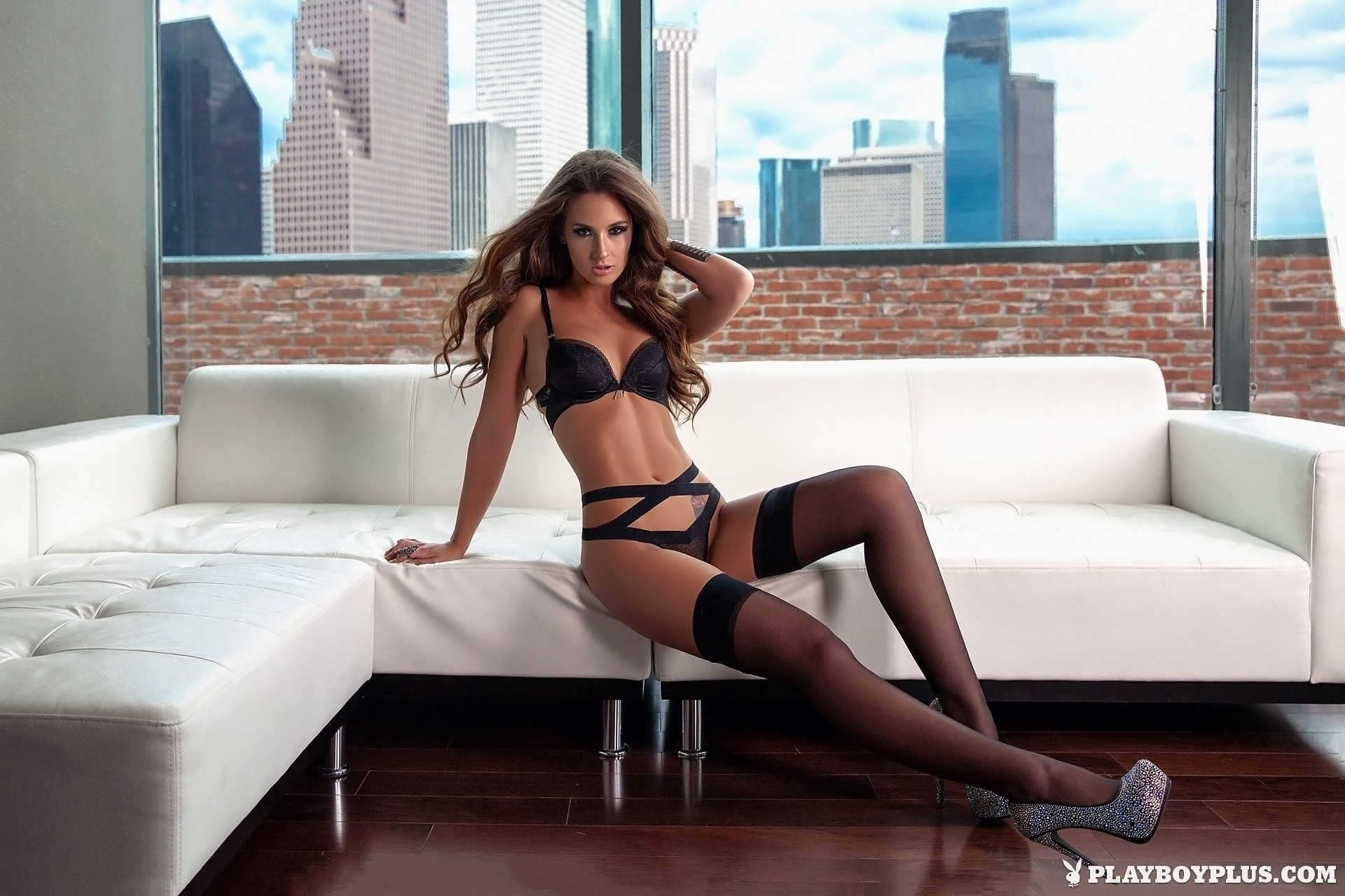 high Playboy heels lingerie stockings and