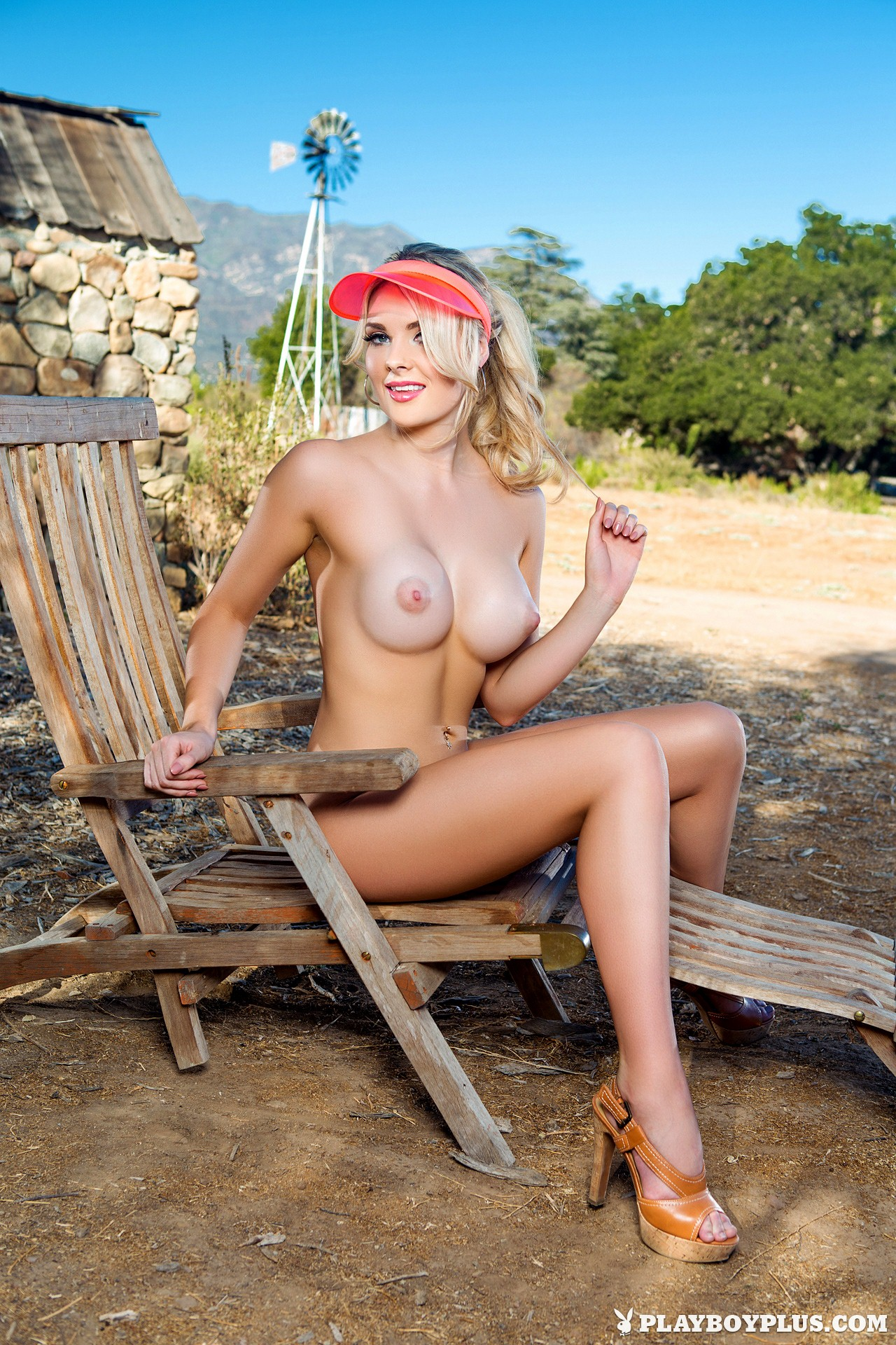 Blond upskirt doggied fully clothed outdoors