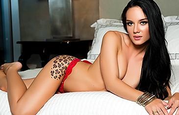 Meghan Leopard strips in Bedroom Backside